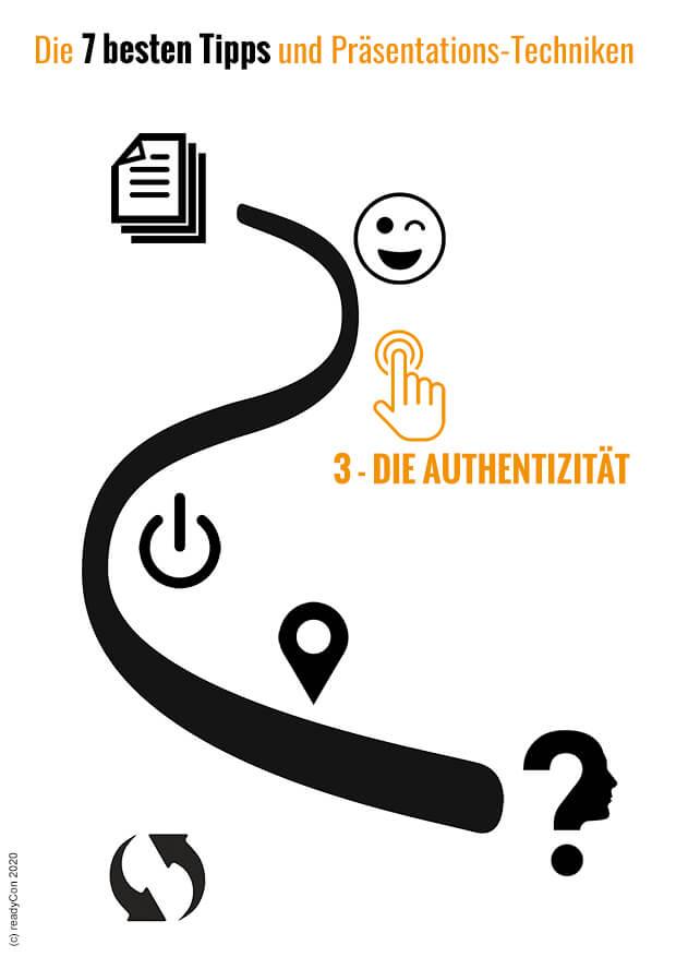 Infografik - Die 7 besten Tipps und Präsentations-Techniken - Tipp 3 - Die Authentizität