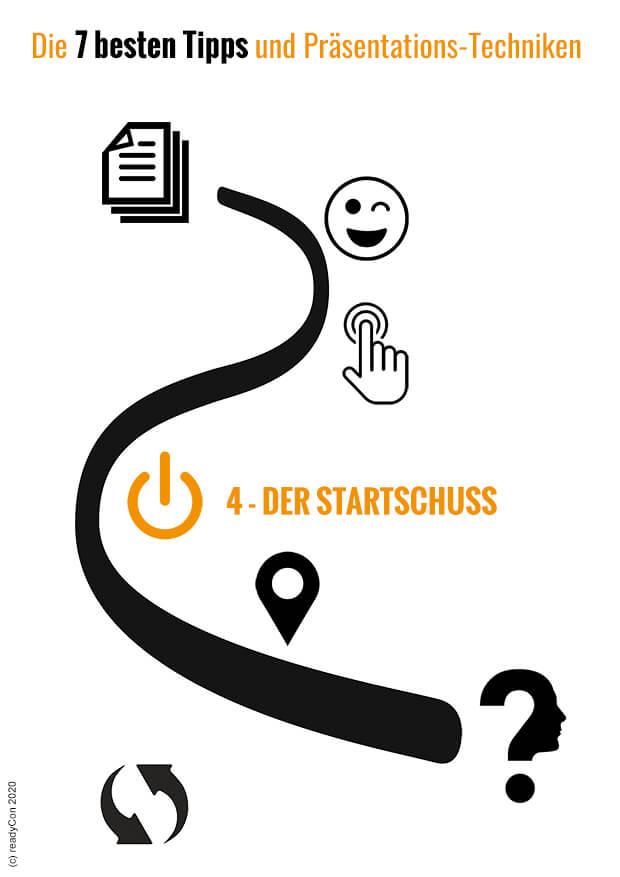 Infografik - Die 7 besten Tipps und Präsentations-Techniken - Tipp 4 - Der Startschuss