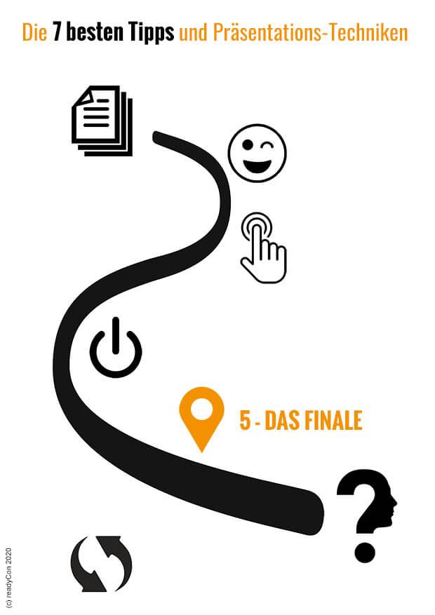 Infografik - Die 7 besten Tipps und Präsentations-Techniken - Tipp 5 - Das Finale