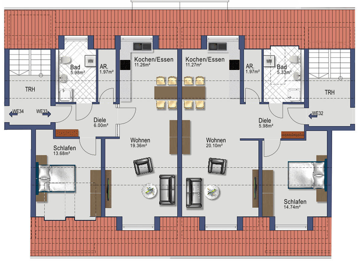 Kaufbeuren Neugablonz - Gablonzer Ring 44 - Wohnung 32/33 - DG