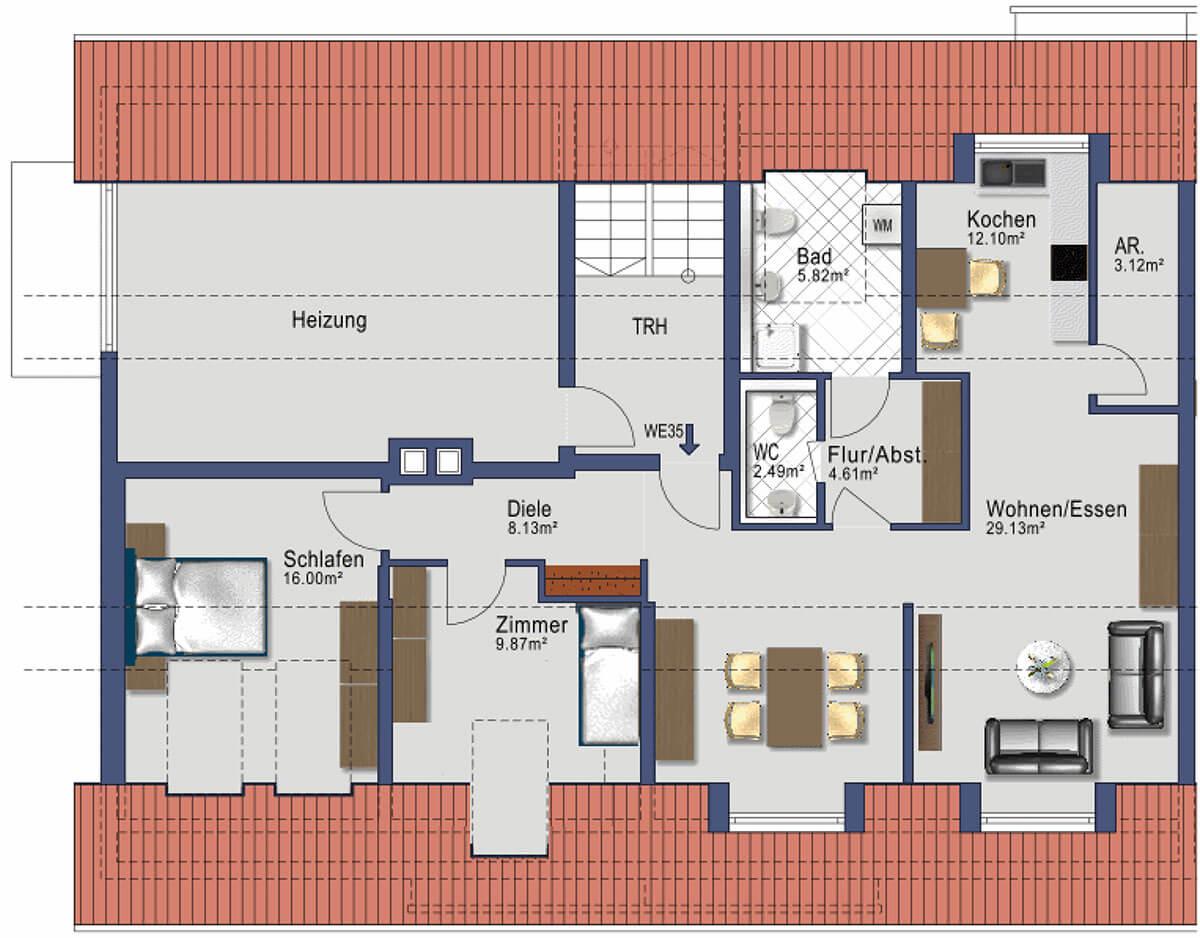 Kaufbeuren Neugablonz - Gablonzer Ring 44 - Wohnung 35 - DG